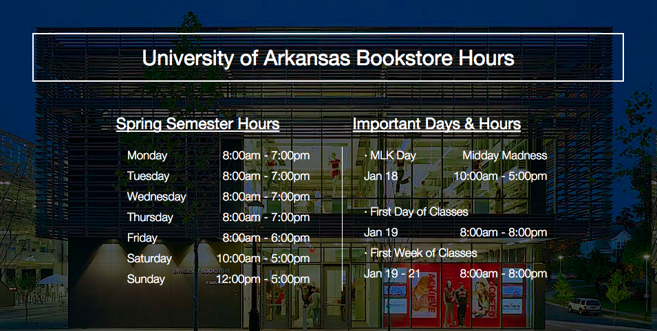 University of Arkansas Computer Store & Bookstore Hours